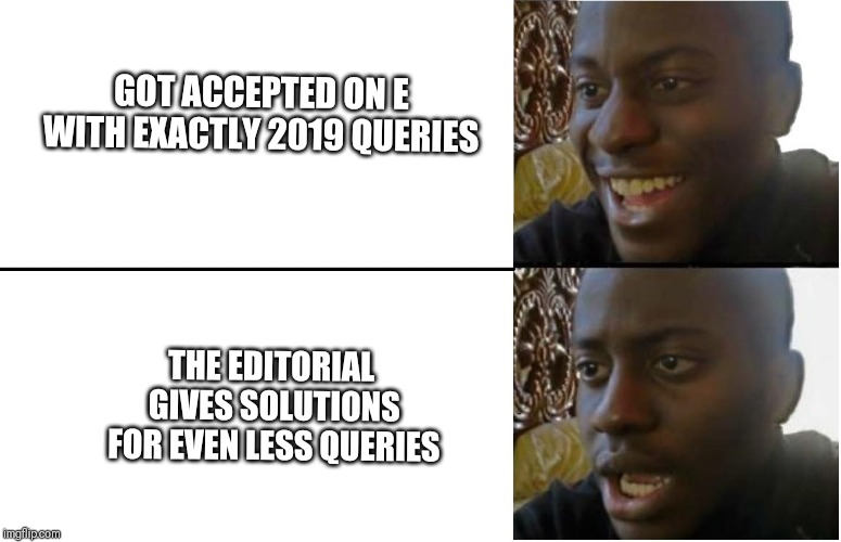 Disappointed Black Guy |  GOT ACCEPTED ON E WITH EXACTLY 2019 QUERIES; THE EDITORIAL GIVES SOLUTIONS FOR EVEN LESS QUERIES | image tagged in disappointed black guy | made w/ Imgflip meme maker