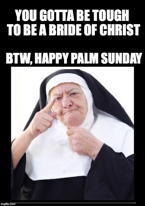 nun | YOU GOTTA BE TOUGH TO BE A BRIDE OF CHRIST BTW, HAPPY PALM SUNDAY | image tagged in nun | made w/ Imgflip meme maker