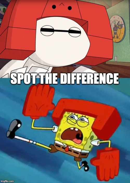 I can't think any good title for this | SPOT THE DIFFERENCE | image tagged in memes,baymax,spongebob,karate,spot the difference | made w/ Imgflip meme maker