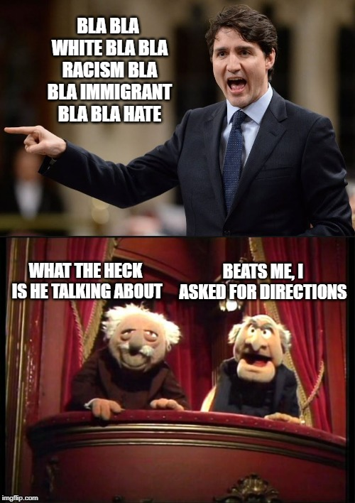 Red Herring? | BLA BLA WHITE BLA BLA RACISM BLA BLA IMMIGRANT BLA BLA HATE WHAT THE HECK IS HE TALKING ABOUT BEATS ME, I ASKED FOR DIRECTIONS | image tagged in statler and waldorf,trudeau,justin trudeau,liberal hypocrisy,liberal logic,meanwhile in canada | made w/ Imgflip meme maker