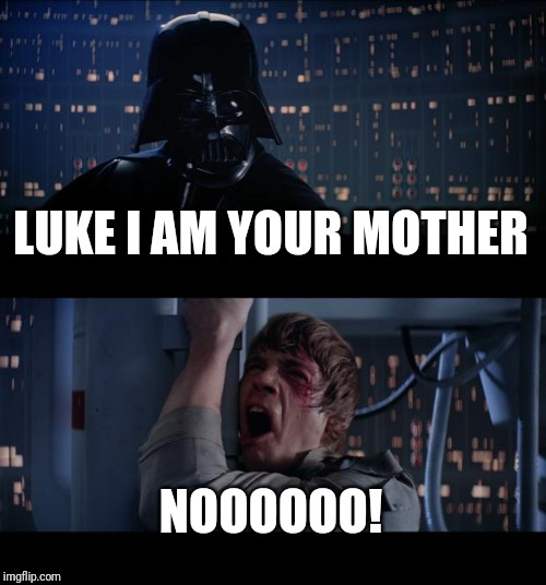 Star Wars No Meme | LUKE I AM YOUR MOTHER NOOOOOO! | image tagged in memes,star wars no | made w/ Imgflip meme maker