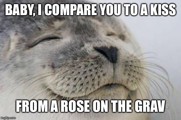 Seal | BABY, I COMPARE YOU TO A KISS FROM A ROSE ON THE GRAVE | image tagged in happy seal | made w/ Imgflip meme maker