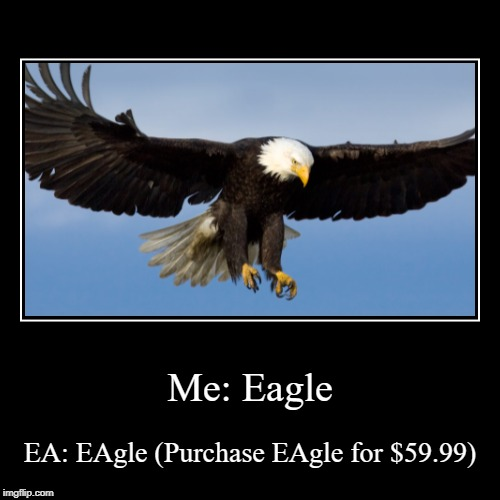 Me: Eagle | EA: EAgle (Purchase EAgle for $59.99) | image tagged in funny,demotivationals | made w/ Imgflip demotivational maker