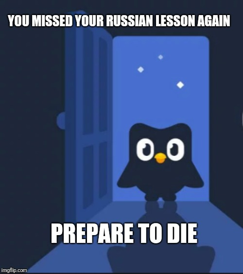 Duolingo bird | YOU MISSED YOUR RUSSIAN LESSON AGAIN PREPARE TO DIE | image tagged in duolingo bird | made w/ Imgflip meme maker