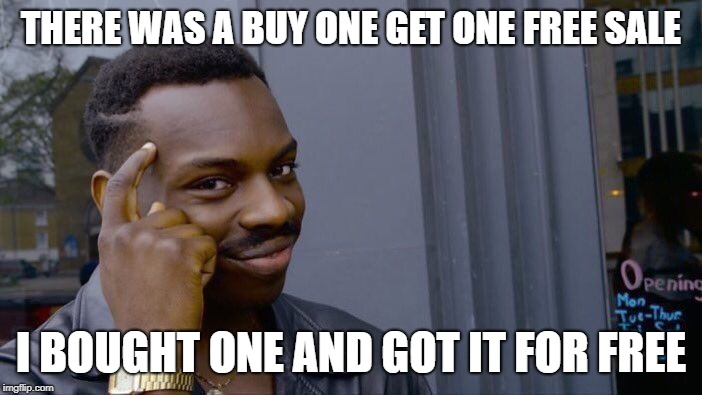 Roll Safe Think About It Meme | THERE WAS A BUY ONE GET ONE FREE SALE I BOUGHT ONE AND GOT IT FOR FREE | image tagged in memes,roll safe think about it | made w/ Imgflip meme maker