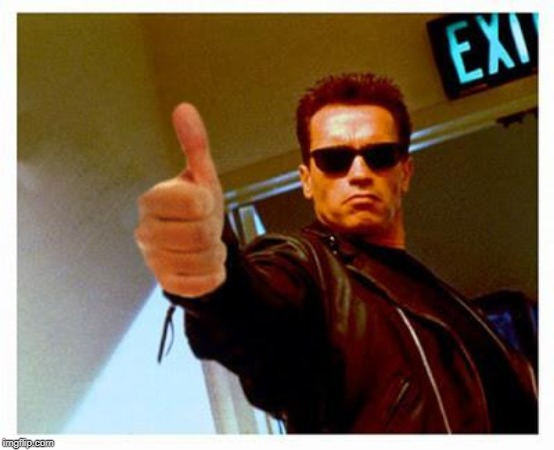 terminator thumbs up | . | image tagged in terminator thumbs up | made w/ Imgflip meme maker