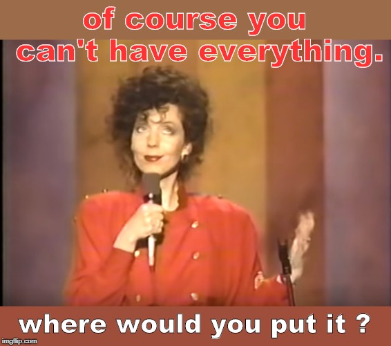 much truth is said in jest. | of course you can't have everything. where would you put it ? | image tagged in 90's comics,rita rudner,english language,mind blown,meme me | made w/ Imgflip meme maker