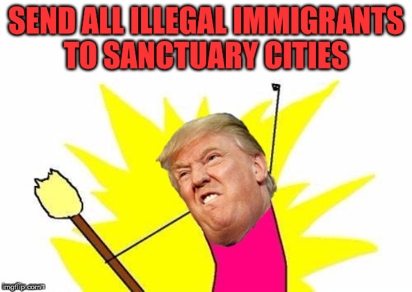 Trump X All The Y | SEND ALL ILLEGAL IMMIGRANTS    TO SANCTUARY CITIES | image tagged in trump x all the y,memes,sanctuary cities,illegal immigration,nancy pelosi,first world problems | made w/ Imgflip meme maker