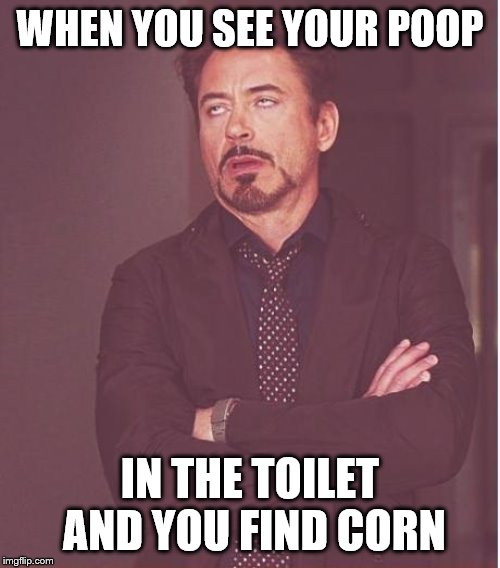 Face You Make Robert Downey Jr | WHEN YOU SEE YOUR POOP IN THE TOILET AND YOU FIND CORN | image tagged in memes,face you make robert downey jr | made w/ Imgflip meme maker