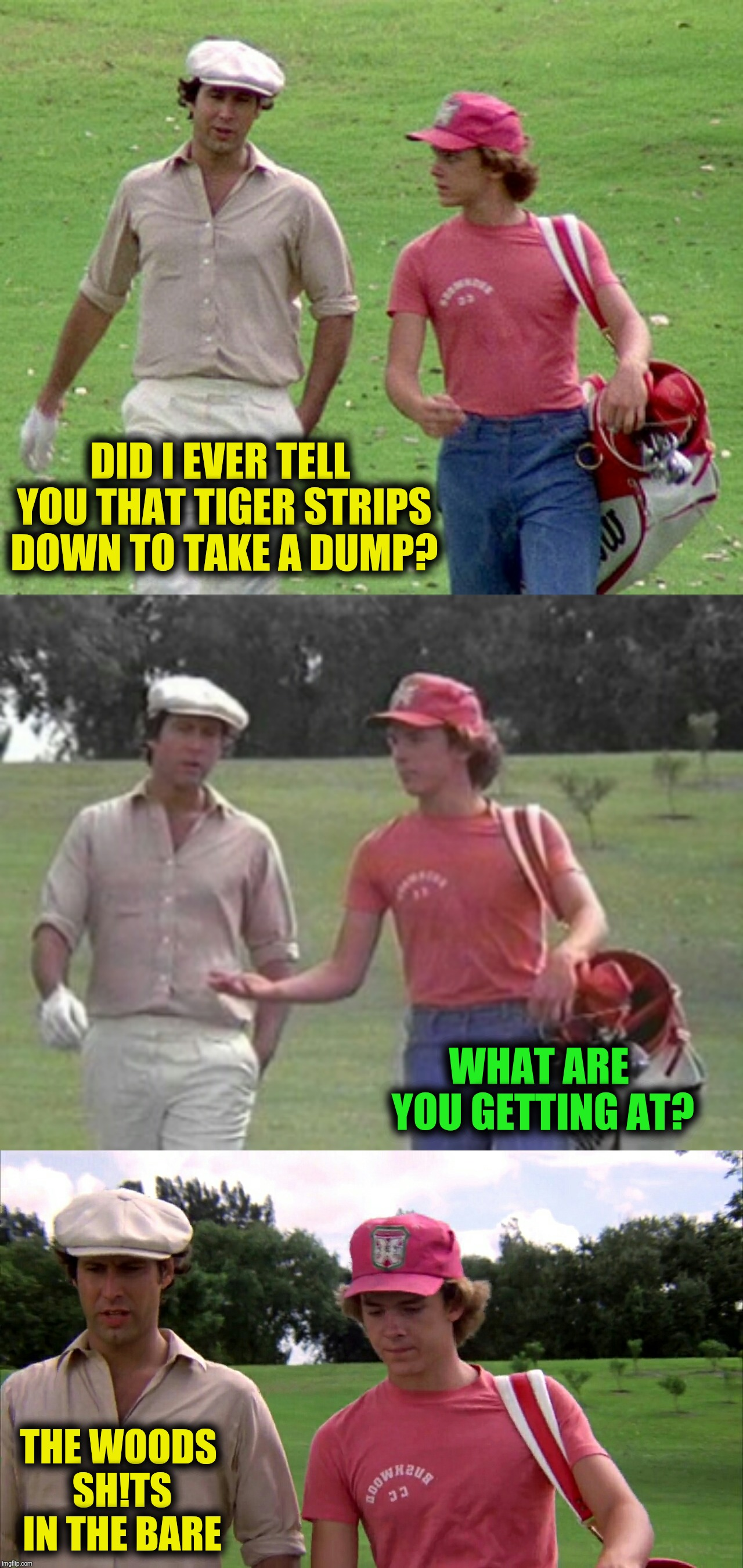 Bad Photoshop Sunday takes a rest to acknowledge Tiger Woods | THIS IS SATAN, SATAN LIKES TO SPOIL THINGS FOR HARDWORKING PEOPLE WHO CAN'T STAY UP LATE! DON'T BE LIKE SATANDON'T POST STUFF ABOUT G.O.T  | image tagged in not bad photoshop sunday,caddyshack,tiger woods,masters | made w/ Imgflip meme maker