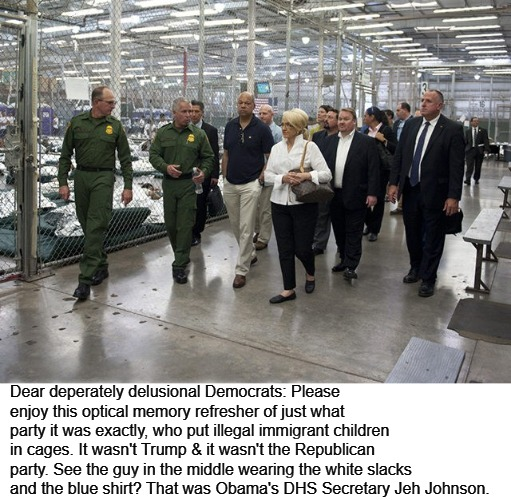 Dear deperately delusional Democrats... | Dear deperately delusional Democrats: Please enjoy this optical memory refresher of just what party it was exactly, who put illegal immigran | image tagged in children in cages,illegal immigrants,jeh johnson,barack obama,children,democrats | made w/ Imgflip meme maker