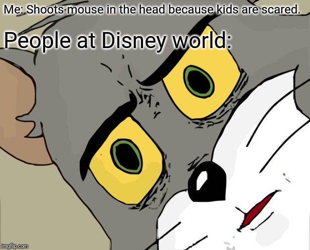 Unsettled Tom Meme | Me: Shoots mouse in the head because kids are scared. People at Disney world: | image tagged in memes,unsettled tom | made w/ Imgflip meme maker