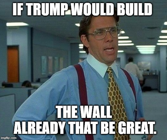 That Would Be Great Meme | IF TRUMP WOULD BUILD THE WALL ALREADY THAT BE GREAT. | image tagged in memes,that would be great | made w/ Imgflip meme maker