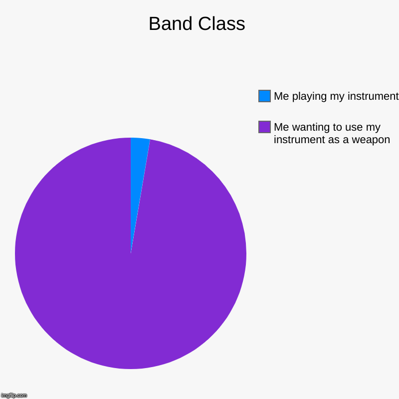 Band Class | Me wanting to use my instrument as a weapon, Me playing my instrument | image tagged in charts,pie charts,band | made w/ Imgflip chart maker