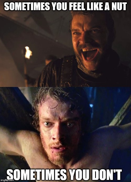 A cheap shot, I know. | SOMETIMES YOU FEEL LIKE A NUT SOMETIMES YOU DON'T | image tagged in theon torture,euron greyjoy,game of thrones,funny memes,nuts,balls | made w/ Imgflip meme maker