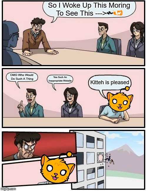 Kitteh is pleased | So I Woke Up This Moring To See This ---> OMG Who Would Do Such A Thing Yea Such An Inappropriate Website Kitteh is pleased | image tagged in memes,boardroom meeting suggestion,kitteh is pleased | made w/ Imgflip meme maker