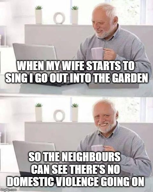 Hide the Pain Harold Meme | WHEN MY WIFE STARTS TO SING I GO OUT INTO THE GARDEN SO THE NEIGHBOURS CAN SEE THERE'S NO DOMESTIC VIOLENCE GOING ON | image tagged in memes,hide the pain harold | made w/ Imgflip meme maker