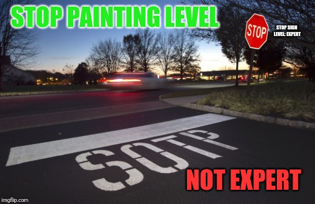 That's Sad. | STOP PAINTING LEVEL NOT EXPERT STOP SIGN LEVEL: EXPERT | image tagged in memes,funny,stop sign | made w/ Imgflip meme maker
