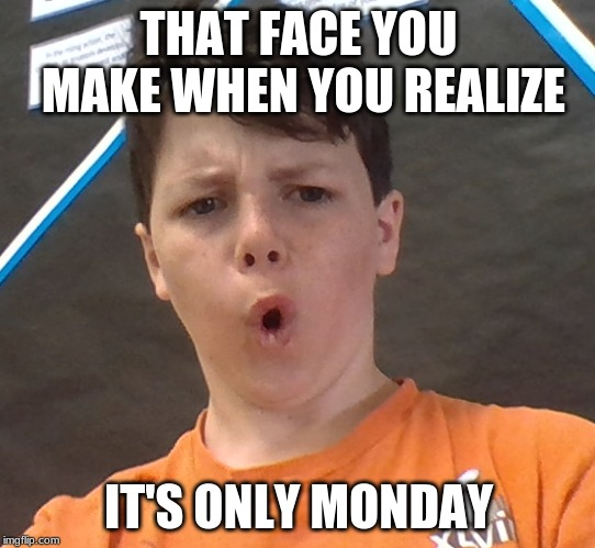 it's only monday | THAT FACE YOU MAKE WHEN YOU REALIZE IT'S ONLY MONDAY | image tagged in that face you make when,it's only monday | made w/ Imgflip meme maker