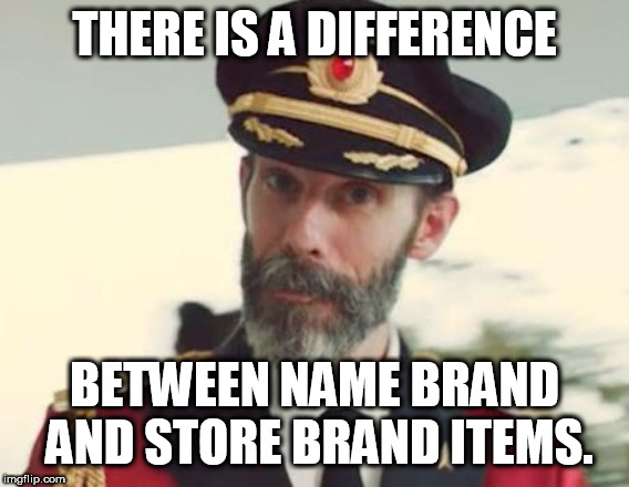 Captain Obvious | THERE IS A DIFFERENCE BETWEEN NAME BRAND AND STORE BRAND ITEMS. | image tagged in captain obvious,shopping,groceries | made w/ Imgflip meme maker