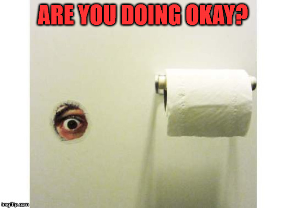Bathroom Peeping Tom | ARE YOU DOING OKAY? | image tagged in bathroom peeping tom | made w/ Imgflip meme maker