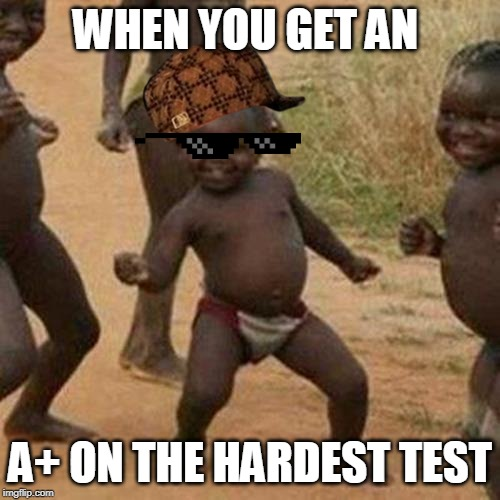 Third World Success Kid | WHEN YOU GET AN A+ ON THE HARDEST TEST | image tagged in memes,third world success kid | made w/ Imgflip meme maker