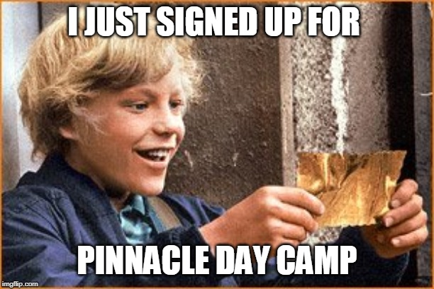The Golden Ticket | I JUST SIGNED UP FOR PINNACLE DAY CAMP | image tagged in the golden ticket | made w/ Imgflip meme maker