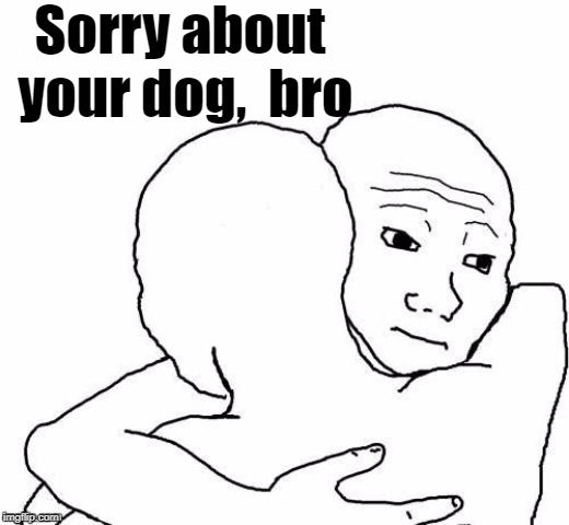 awww hug | Sorry about your dog,  bro | image tagged in awww hug | made w/ Imgflip meme maker