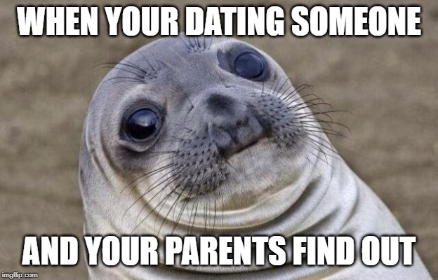 Awkward Moment Sealion Meme | WHEN YOUR DATING SOMEONE AND YOUR PARENTS FIND OUT | image tagged in memes,awkward moment sealion | made w/ Imgflip meme maker