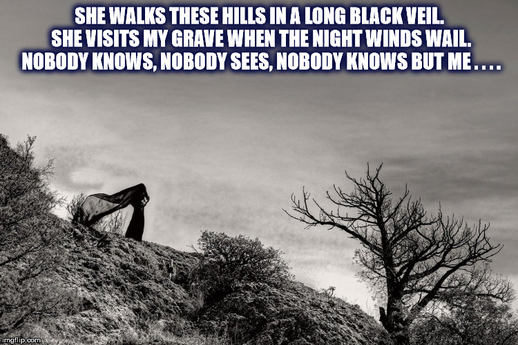 DMB Long Black Veil |  SHE WALKS THESE HILLS IN A LONG BLACK VEIL. SHE VISITS MY GRAVE WHEN THE NIGHT WINDS WAIL. NOBODY KNOWS, NOBODY SEES, NOBODY KNOWS BUT ME . . . . | image tagged in dmb,dave matthews band,long black veil,grave,wind,night | made w/ Imgflip meme maker