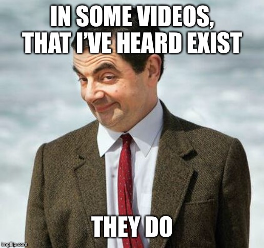 mr bean | IN SOME VIDEOS, THAT I'VE HEARD EXIST THEY DO | image tagged in mr bean | made w/ Imgflip meme maker