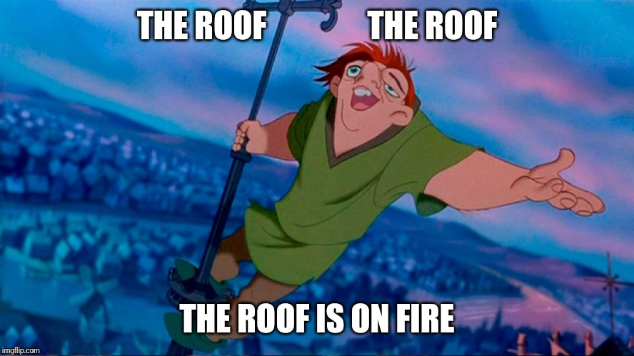 Quasimodo hunchback of notre dame | THE ROOF                THE ROOF THE ROOF IS ON FIRE | image tagged in quasimodo hunchback of notre dame | made w/ Imgflip meme maker