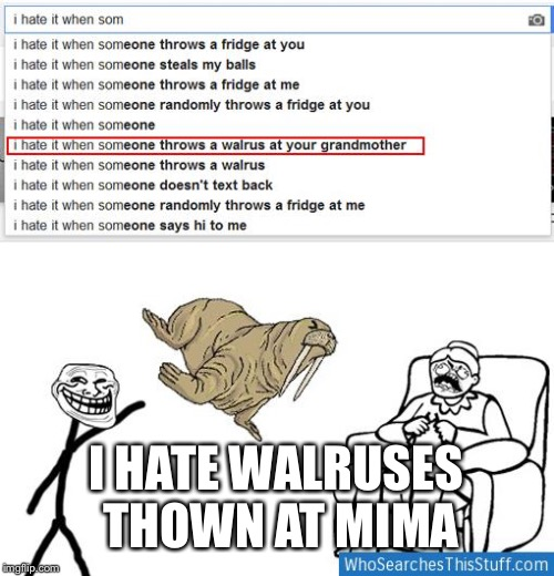I HATE WALRUSES THOWN AT MIMA | image tagged in grandma | made w/ Imgflip meme maker