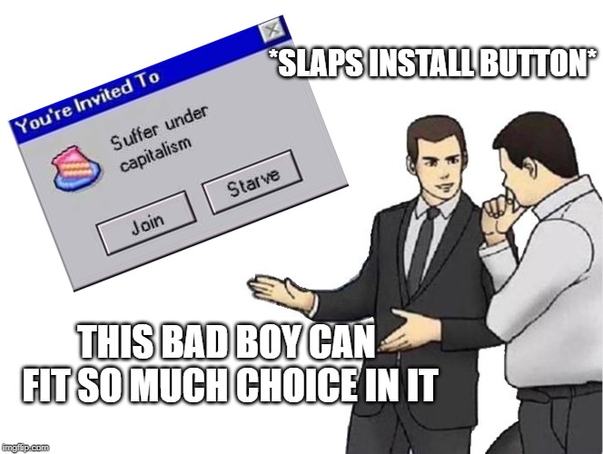 Car Salesman Slaps Hood Meme | *SLAPS INSTALL BUTTON* THIS BAD BOY CAN FIT SO MUCH CHOICE IN IT | image tagged in memes,car salesman slaps hood | made w/ Imgflip meme maker