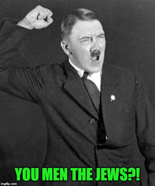 YOU MEN THE JEWS?! | image tagged in angry hitler | made w/ Imgflip meme maker
