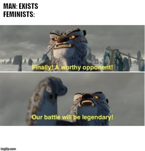 Tai Lung is fighting men | MAN: EXISTS               FEMINISTS: | image tagged in kung fu panda | made w/ Imgflip meme maker