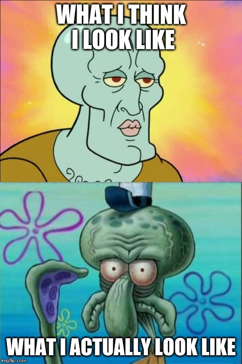 Squidward Meme | WHAT I THINK I LOOK LIKE WHAT I ACTUALLY LOOK LIKE | image tagged in memes,squidward | made w/ Imgflip meme maker