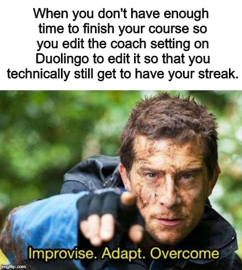 Anything for my parents... Duolingo Meme #2 |  When you don't have enough time to finish your course so you edit the coach setting on Duolingo to edit it so that you technically still get to have your streak. | image tagged in bear grylls improvise adapt overcome,duolingo | made w/ Imgflip meme maker