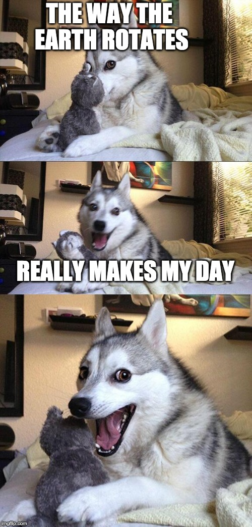 Bad Pun Dog Meme | THE WAY THE EARTH ROTATES REALLY MAKES MY DAY | image tagged in memes,bad pun dog | made w/ Imgflip meme maker