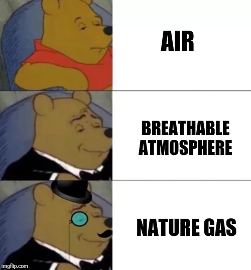 Fresh | AIR BREATHABLE ATMOSPHERE NATURE GAS | image tagged in fancy pooh,air,atmosphere,gas,breathe | made w/ Imgflip meme maker