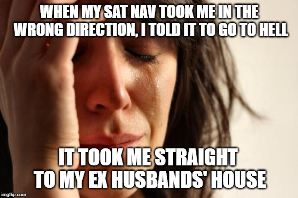 First World Problems Meme | WHEN MY SAT NAV TOOK ME IN THE WRONG DIRECTION, I TOLD IT TO GO TO HELL IT TOOK ME STRAIGHT TO MY EX HUSBANDS' HOUSE | image tagged in memes,first world problems | made w/ Imgflip meme maker