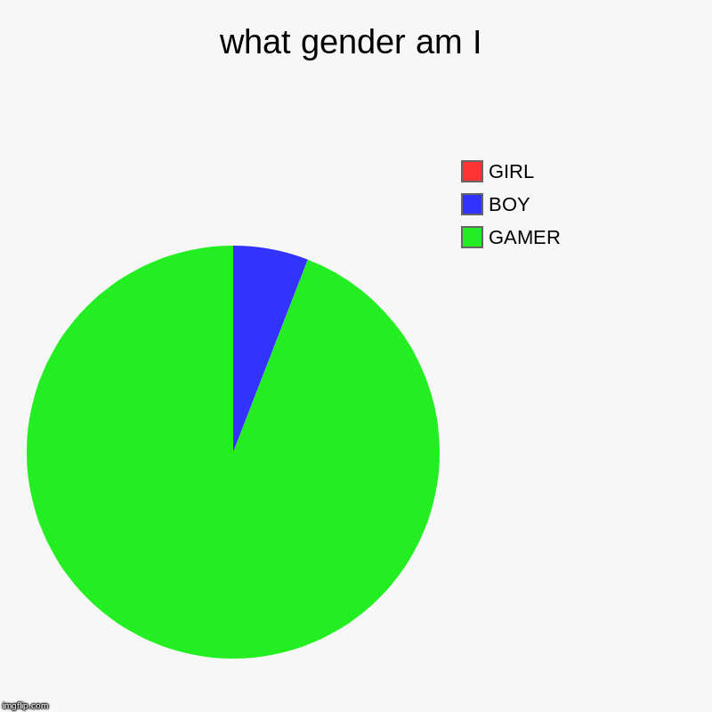 what gender am I | GAMER, BOY, GIRL | image tagged in charts,pie charts | made w/ Imgflip chart maker