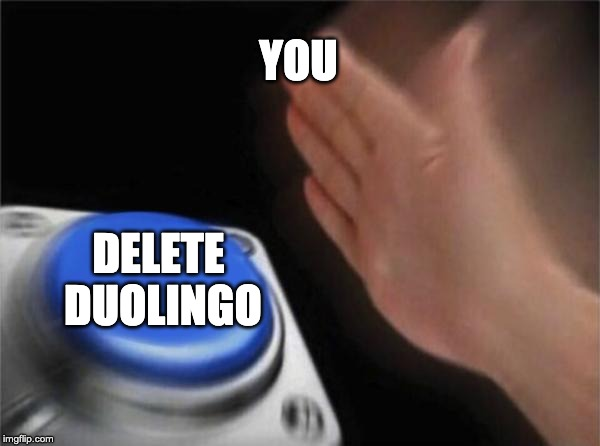 Blank Nut Button Meme | YOU DELETE DUOLINGO | image tagged in memes,blank nut button | made w/ Imgflip meme maker