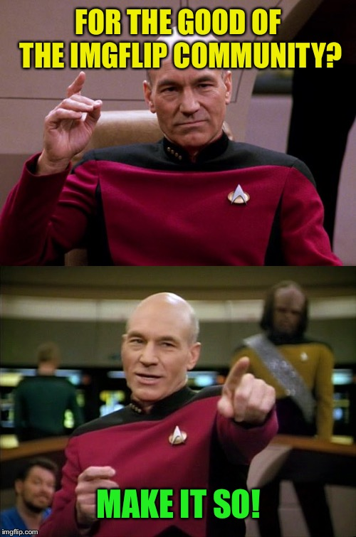 Picard Engage Pointing | FOR THE GOOD OF THE IMGFLIP COMMUNITY? MAKE IT SO! | image tagged in picard engage pointing | made w/ Imgflip meme maker