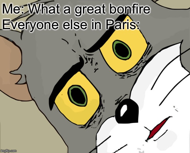 Unsettled Tom Meme | Me: What a great bonfire Everyone else in Paris: | image tagged in memes,unsettled tom,memes | made w/ Imgflip meme maker