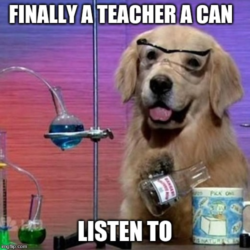 I Have No Idea What I Am Doing Dog | FINALLY A TEACHER A CAN LISTEN TO | image tagged in memes,i have no idea what i am doing dog | made w/ Imgflip meme maker