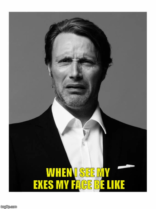Mads Mikkelsen Impressions | WHEN I SEE MY EXES MY FACE BE LIKE | image tagged in memes,funny,lol,funny memes,amazing,hilarious | made w/ Imgflip meme maker