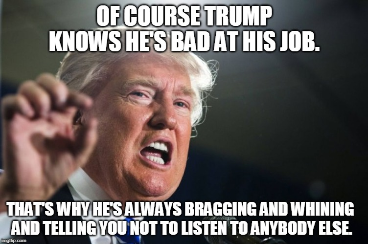 Brag. Whine. Repeat. | OF COURSE TRUMP KNOWS HE'S BAD AT HIS JOB. THAT'S WHY HE'S ALWAYS BRAGGING AND WHINING AND TELLING YOU NOT TO LISTEN TO ANYBODY ELSE. | image tagged in donald trump,bad,president,bragging,whine,fake news | made w/ Imgflip meme maker