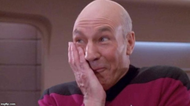 Picard giggle | image tagged in picard giggle | made w/ Imgflip meme maker