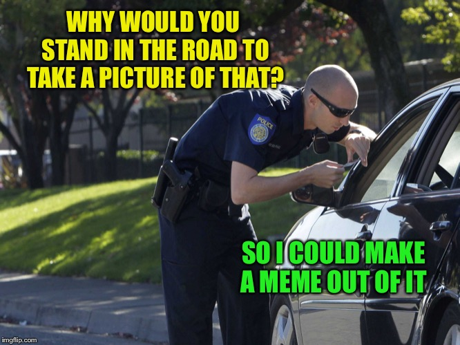 police pull over | WHY WOULD YOU STAND IN THE ROAD TO TAKE A PICTURE OF THAT? SO I COULD MAKE A MEME OUT OF IT | image tagged in police pull over | made w/ Imgflip meme maker